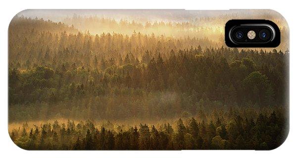 Beautiful Foggy Forest During Autumn Sunrise, Saxon Switzerland, Germany IPhone Case