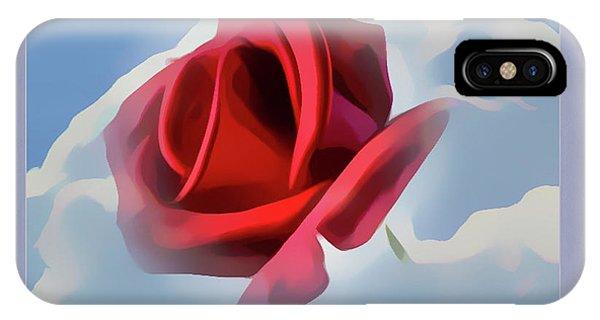 Beautiful Red Rose Cuddled By Cumulus IPhone Case
