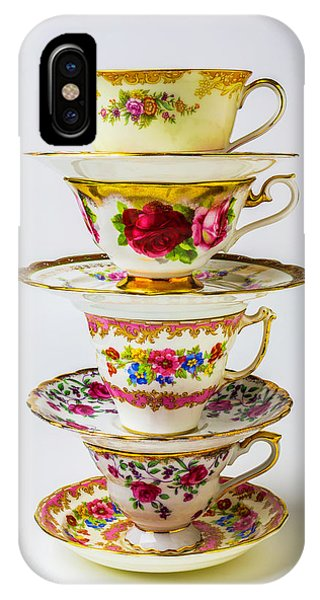 Saucer iPhone Case - Beautiful Stacked Tea Cups by Garry Gay