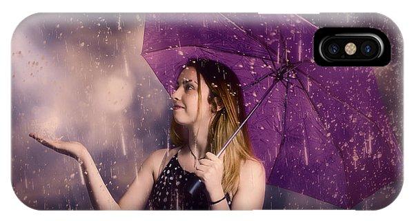 Beautiful Storm Woman Catching Falling Rain Drops IPhone Case
