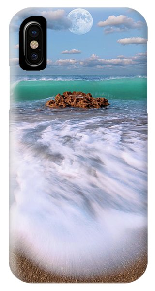 Beautiful Waves Under Full Moon At Coral Cove Beach In Jupiter, Florida IPhone Case