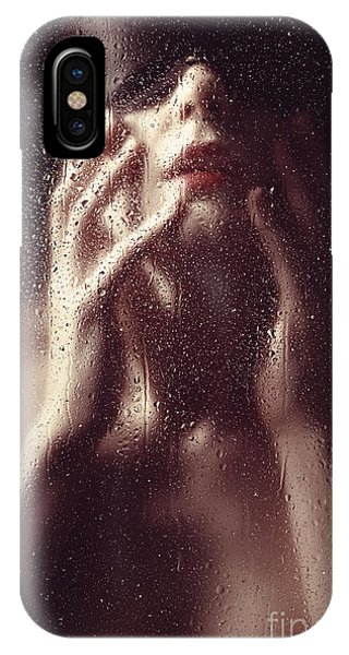 Beautiful Woman Photographed Behind A Window With Rain Drops IPhone Case