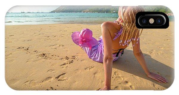 Beautiful Woman Sunbathing On Beach IPhone Case