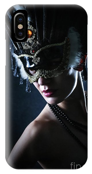 IPhone Case featuring the photograph Beauty Model Wearing Venetian Masquerade Carnival Mask by Dimitar Hristov