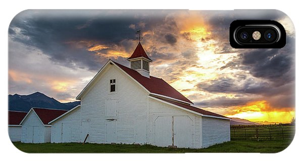 Sangre De Cristo iPhone Case - Beckwith Ranch At Sunset With Crepuscular Rays And Virga by Bridget Calip