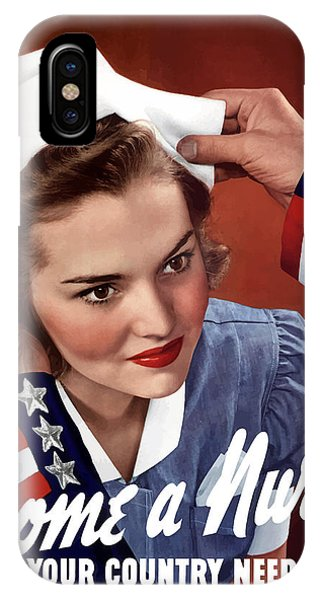 Americana iPhone Case - Become A Nurse -- Ww2 Poster by War Is Hell Store