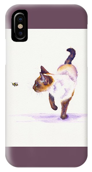 Cat iPhone X Case - Bee Free by Debra Hall