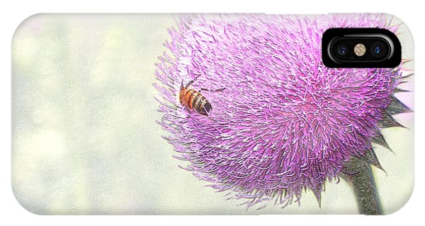 Bee On Giant Thistle IPhone Case