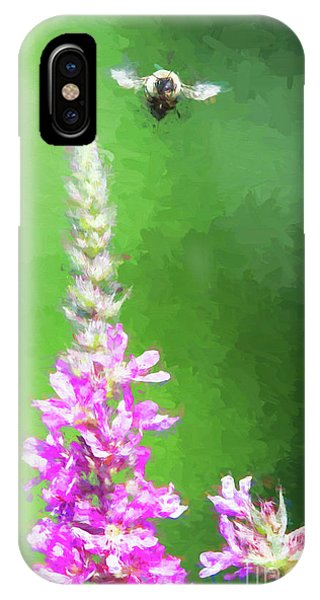 Bee Over Flowers IPhone Case