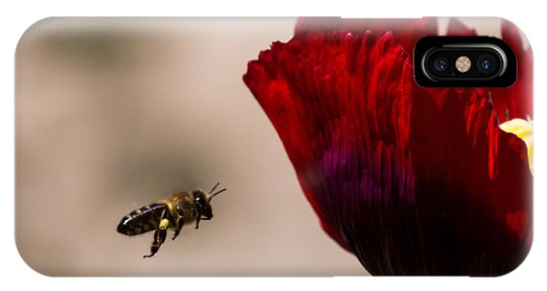 Bee Right Profile Flying To Red Flower IPhone Case