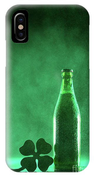 St. Patricks Day iPhone Case - Beer Bottle And A Shamrock On A Dusty Background by Michal Bednarek