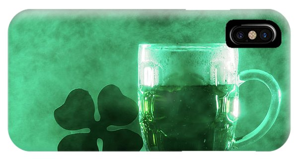 St. Patricks Day iPhone Case - Beer Mug With Green Beer And Shamrock In A Smoke. by Michal Bednarek