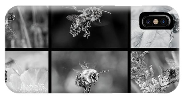 Bees In Flight In Black And White IPhone Case