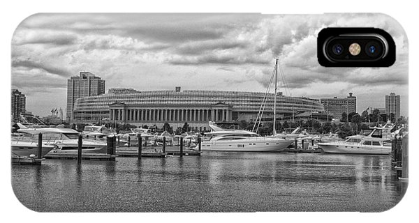 Before The Spring Storm Chicago Soldier Field Bw IPhone Case