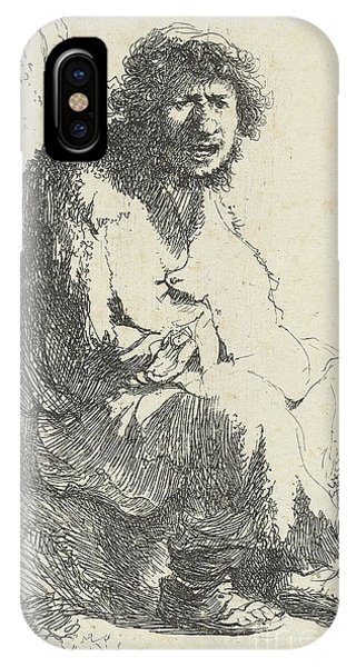 Etch-a-sketch iPhone Case - Beggar Seated On A Bank by Rembrandt Harmensz van Rijn