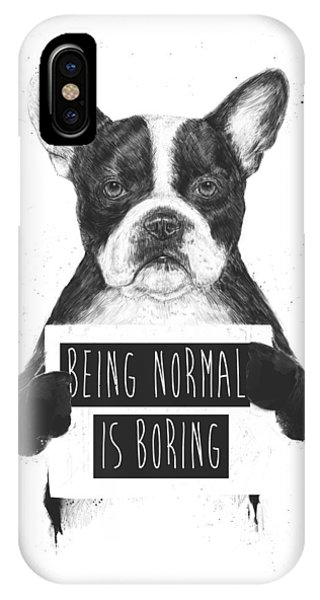 Dog iPhone X Case - Being Normal Is Boring by Balazs Solti