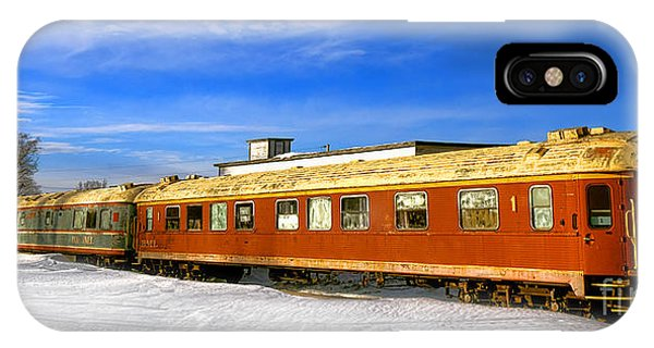 Railroad Station iPhone Case - Belfast And Moosehead Railroad Cars In Winter by Olivier Le Queinec