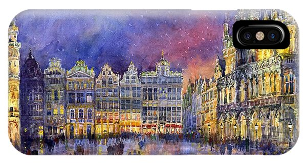 Watercolour iPhone Case - Belgium Brussel Grand Place Grote Markt by Yuriy Shevchuk