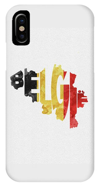 Belgium Typographic Map Flag IPhone Case