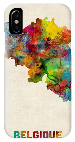 Belgium Watercolor Map IPhone Case