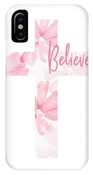 Watercolor iPhone Case - Believe Floral Cross- Art By Linda Woods by Linda Woods