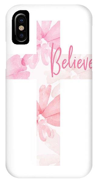 Cross iPhone X Case - Believe Floral Cross- Art By Linda Woods by Linda Woods