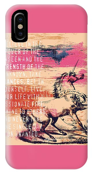 Unicorn iPhone Case - Believe In The Power Of The Unseen by Brandi Fitzgerald