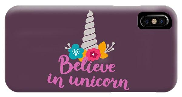 Unicorn iPhone Case - Believe In Unicorn by Edward Fielding