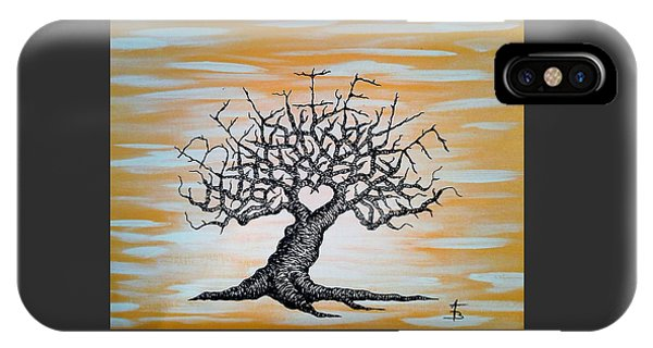 IPhone Case featuring the drawing Believe Love Tree by Aaron Bombalicki