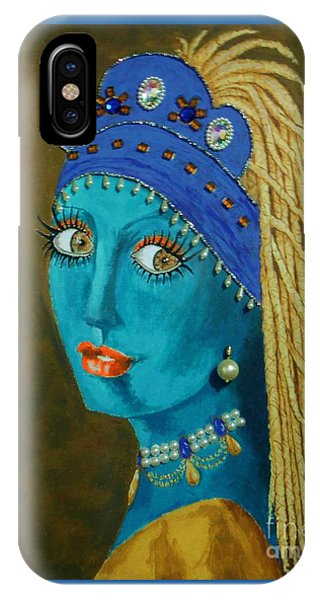 Belly Dancer With A Pearl Earring -- The Original -- Whimsical Redo Of Vermeer Painting IPhone Case