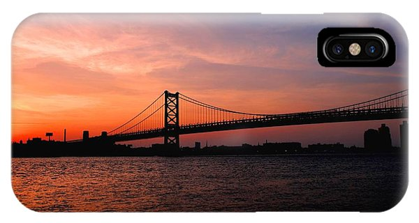 Ben Franklin Bridge Sunset IPhone Case