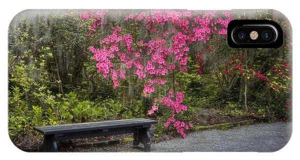 Bench In Azalea Garden IPhone Case