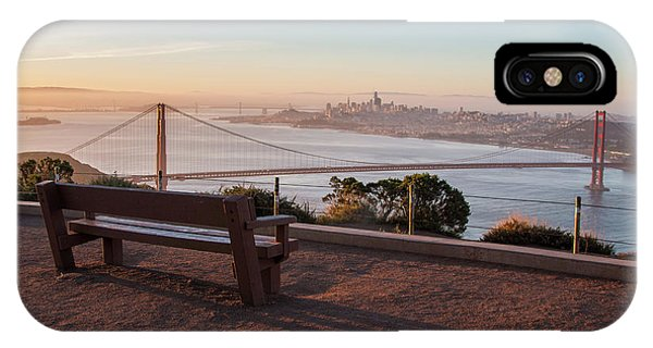 Bench Overlooking Downtown San Francisco And The Golden Gate Bri IPhone Case