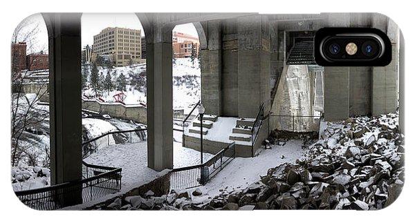 Centennial Bridge iPhone Case - Beneath Spokane's Monroe St Bridge by Daniel Hagerman