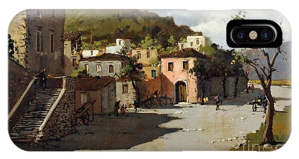 IPhone Case featuring the painting Provincia Di Benevento-italy Small Town The Road Home by Rosario Piazza
