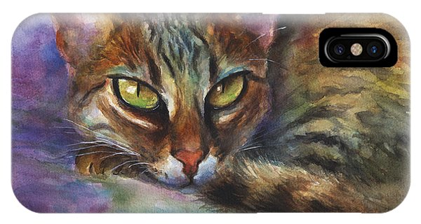 Russian Impressionism iPhone Case - Bengal Cat Watercolor Art Painting by Svetlana Novikova