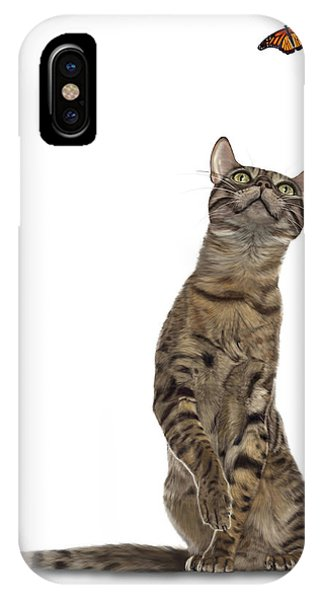 Bengal Cat With Butterfly IPhone Case
