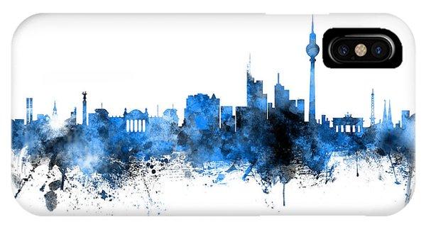 Berlin iPhone Case - Berlin Germany Skyline Blue Signed by Michael Tompsett