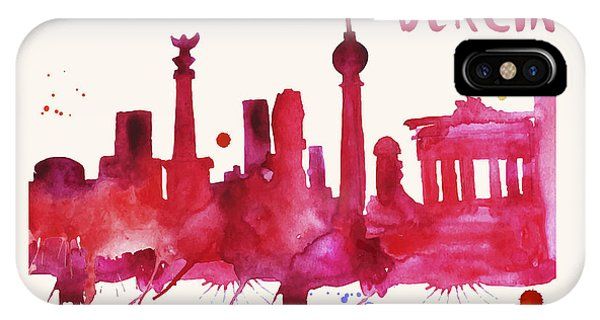 Berlin Skyline Watercolor Poster - Cityscape Painting Artwork IPhone Case