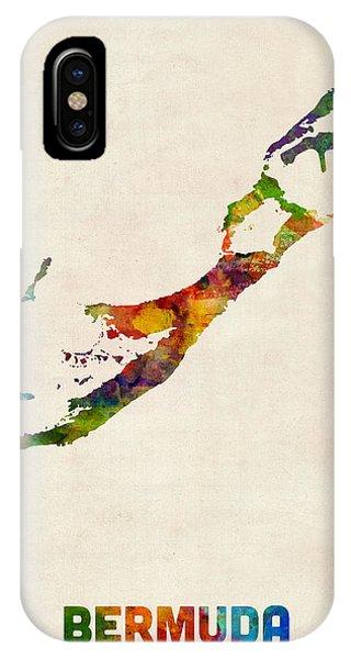 Bermuda Watercolor Map IPhone Case