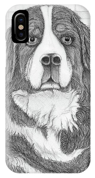 IPhone Case featuring the drawing Bernese Mountain Dog  by Jason Girard
