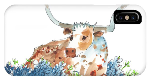 Bessie In The Bluebonnets Watercolor Painting By Kmcelwaine IPhone Case