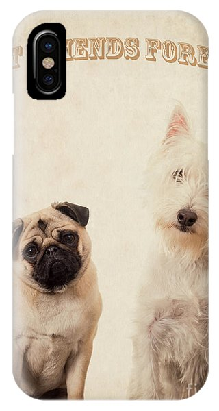 Pug iPhone X Case - Best Friends Forever by Edward Fielding