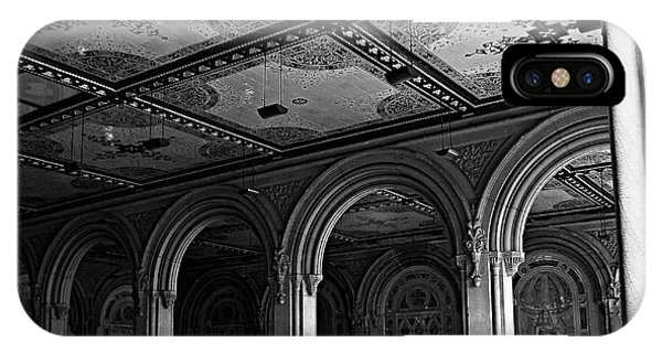 Bethesda Terrace Arcade In Central Park - Bw IPhone Case