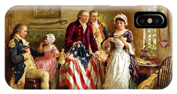 George Washington iPhone Case - Betsy Ross And General George Washington by War Is Hell Store