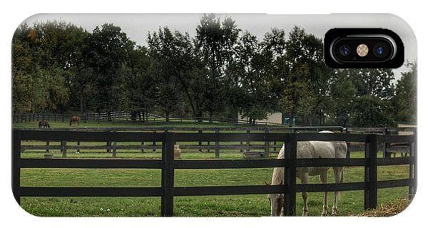1004 - Beyond The Fence White Horse IPhone Case