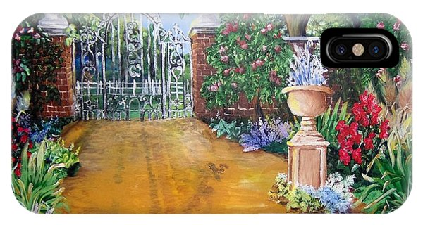 IPhone Case featuring the painting Beyond The Gate by Saundra Johnson