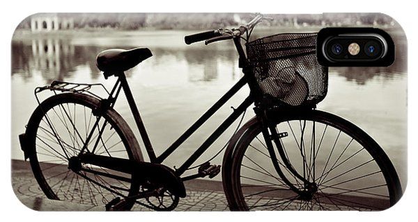 Bike iPhone Case - Bicycle By The Lake by Dave Bowman
