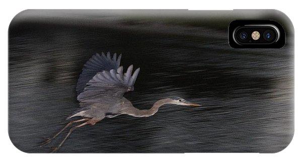 Big Blue Heron In Flight-debbie-may Phone Case by Debbie May