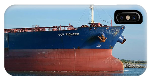 IPhone Case featuring the photograph Big Blue Tanker Bow by Bradford Martin